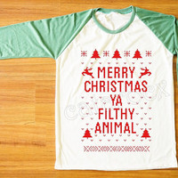 Red Text Merry Christmas Ya Filthy Animal Shirt Merry Christmas Shirt Green Sleeve Shirt Women Shirt Unisex Shirt Baseball Tee Shirt S,M,L