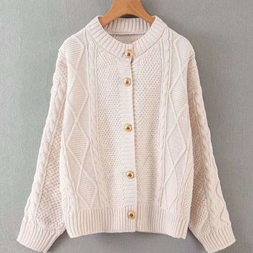Button Through Cable Knit Solid Cardigan