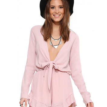 Bow Tie Deep V-Neck Long Sleeve Ruffled Romper
