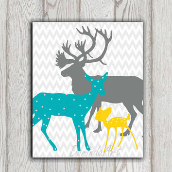 Teal yellow Gray Boy or Girls Bedroom decor print Deer family printable Nursery wall art poster Baby shower gift idea Custom colors DOWNLOAD