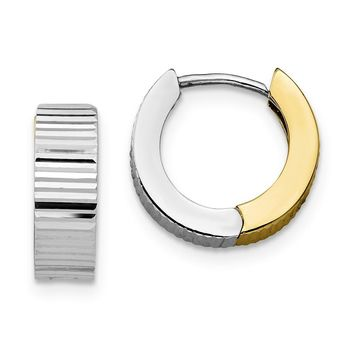 10K Two Tone Gold Reversible Hoop Earrings