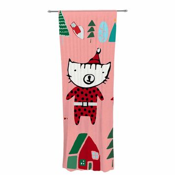 "bruxamagica ""Cute Santa Cat Pink"" Pink Red Animals Holiday Illustration Decorative Sheer Curtain"