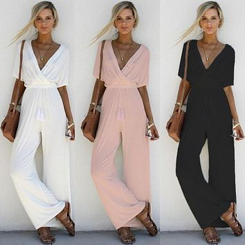 Womens Beautiful Deep V Loose Fit Jumpsuit