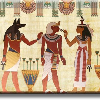 Ancient Egyptian Scripture Art Picture on Stretched Canvas, Wall Art Décor, Ready to Hang