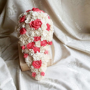 Big CASCADE/TEARDROP ivory and coral rustic wedding Bridal BOUQUET sola Flowers, sorghum, Burlap lace Handle, roses vintage wedding custom