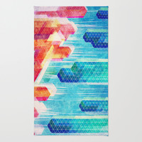 Fire & Ice  Area & Throw Rug by Pixel Pop