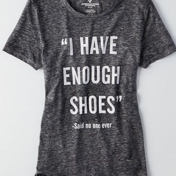 AEO Women's Shoes Graphic T-shirt (True Black)