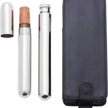 2 Oz Stainless Steel Flask w/Cigar Holder
