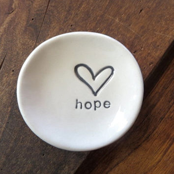 ring dish, wedding ring holder, hope, heart, handmade pottery, black and white, text, Gift Boxed, In Stock