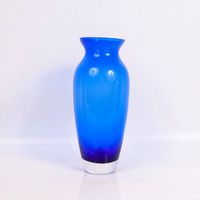 Vintage Cobalt Blue Vase Large Cased Vessel Murano Art Glass Flower Vase Centerpiece