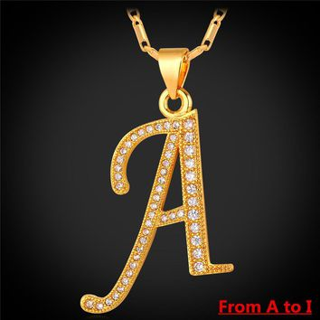 HCXX A to I 26 Alphabet Letter Pendant Necklace Men Jewelry