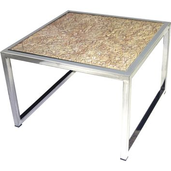 Hand Carved Coffee Table Mango Wood Top on Stainless Base