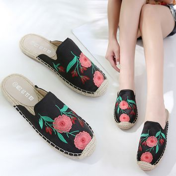 Women Summer Fashion Embroidery Square Toe Flat Heel Slippers Mules Loafer Shoe