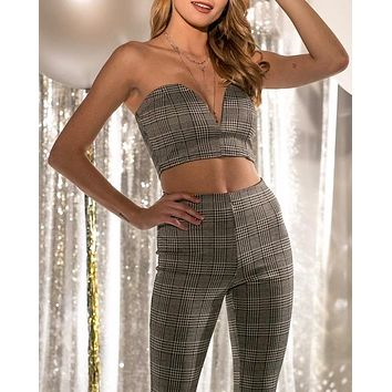 plaid strapless crop top and pants set - grey