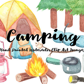 Camping Watercolor Clip Arts Scrapbooking Digital Files hiking campfire Download printable backpack road trip nature forest tent glamping