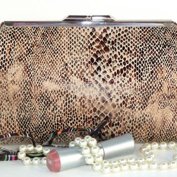 Framed Clutch Purse in Brown Snake Skin