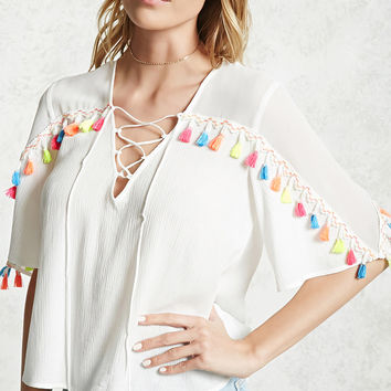 Tassel Trim Lace-Up Top