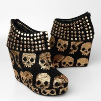 Iron Fist Gold Star Wedge Platform Shoe - Gold - Punk.com