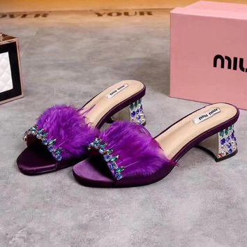 Miu Miu Women Fashion Casual Heels Shoes Slipper Shoes