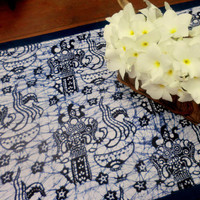 Tribal Table Runner In Barong Bali Batik On Blue and White Cotton