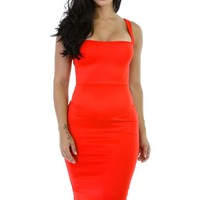 Orange Corset-Style Back Lace Up Dress
