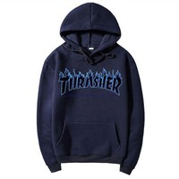"""""""Thrasher""""Quality hooded sweater flame slide hip sweater Navy blue"""