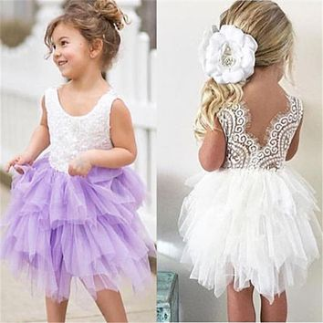 Baby Girl Ball Gown Lace Dresses Kids Formal Dress For Girls Baby Girl Lace Party Prom Bridesmaid Pageant Dresses