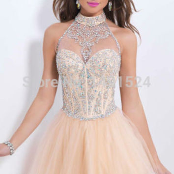 2015 New Fashion Homecoming Dresses Sexy Halter Mini Chiffon Short Crystal Bodice Short Prom Dress Party Cocktail Dresses