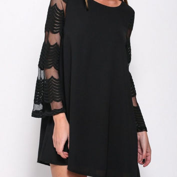 Black Mesh-Sleeve Chiffon Shift Dress