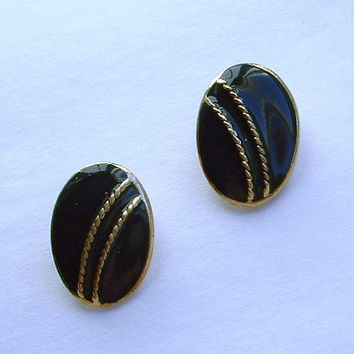 Black Enamel Clip On Earrings Simple Elegant Jewelry