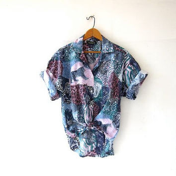Vintage safari shirt. Short sleeve jungle shirt. Button up shirt. Animal print shirt.