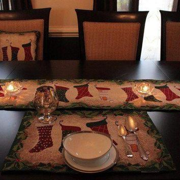 8 Piece Hang My Stocking Upon the Fireplace Table Set ,2 Table Runners, 2 Cushion Covers, and 4 Placemats