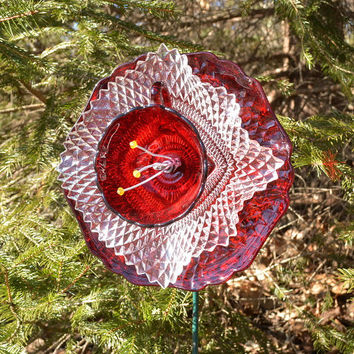 Garden Party Flower, Outdoor Summer Decor, Red Flower, Garden Art, Glass Plate Flower,  Garden Decor, Outdoor Living, Garden Party Decor