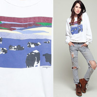 Animal Sweatshirt 80s COW Shirt Raglan Sleeve Farm Pasture Graphic Print Jumper Slouchy 1980s Sweater Vintage White Blue Small Medium