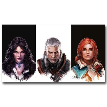 NICOLESHENTING The Witcher 3 Wild Hunt Art Silk Poster 13x24 24x43inch Game Geralt Cirilla Yennefer Picture for Wall Decor