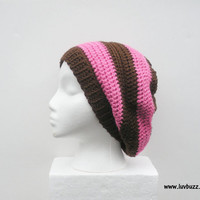 Pink and Brown Striped Crochet Slouch Hat, ready to ship.