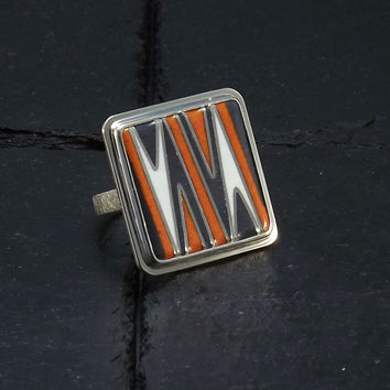 Cloisonne Enamel Ring - Cocktail Ring -  Statement Unique Ring -  Abstract Ring - size 7,5 Ring - Orange Gray White Ring - Handmade Ring