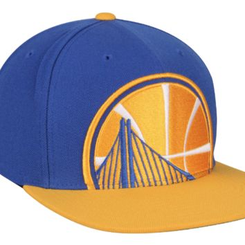 Mitchell & Ness Golden State Warriors Cropped XL Logo Snapback Adjustable Hat
