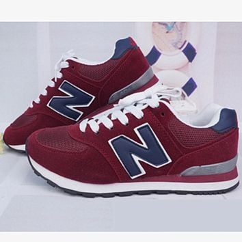 New balance abric is breathable n leisure sports Couples forrest gump running Wine red
