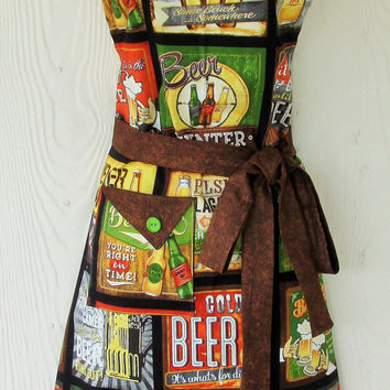 Beer Theme Apron , Beer Lovers , Womens Full Apron , Retro Style Apron , KitschNStyle