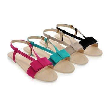 Sweet Bowtie Sandals Flat Shoes Woman