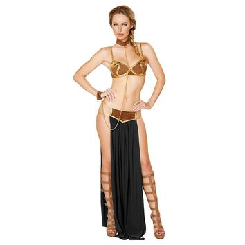 Summer 2018 New Sexy Carnival Star Wars Adult Cosplay Princess Leia Slave Halloween Costume Women Dress Gold Bra and Neckchain