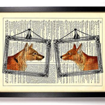 Mr. Fox And Mrs. Fox Portraits Repurposed Book Upcycled Dictionary Art Vintage Book Print Recycled Vintage Dictionary Page Buy 2 Get 1 FREE