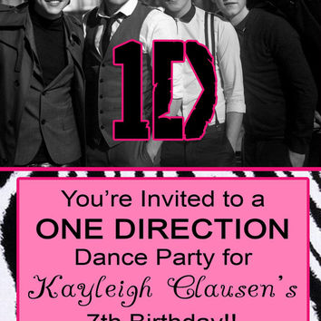 "ONE DIRECTION Concert Admit Ticket Pink Zebra Girl Birthday Party Invitation - Personalized - 3.75"" x 8.5"""