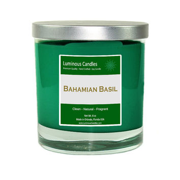 Soy Candle - Bahamian Basil Scented - 8 oz Rock Glass Jar Candle with Brushed Metal Lid