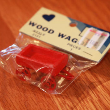 NOS Red Wooden Wagon Dollhouse Miniature Toy