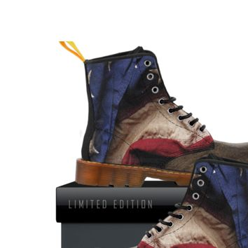 Aged American Flag Wood Kids Canvas Boots
