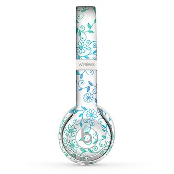The White with Blue & Green Floral Thin Laced Skin Set for the Beats by Dre Solo 2 Wireless Headphones