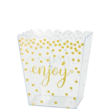 Small Metallic Gold Polka Dots Plastic Scalloped Container 52oz | Party City