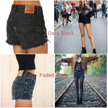 LEVI'S Shorts Denim Cutoff Tattered BLACK Distressed Highwaist High Cut Jean Shorts